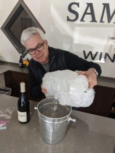 dave adding ice to the bucket